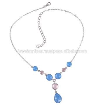 Onyx und Rose Quarz Sterling Silber Halskette
