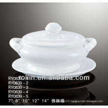Export ceramic tureen with lid and handles and saucer
