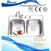 Doppelschüssel-Spülbecken-Doppelschüssel der Top-Schüssel wasign-Trogwanne mit 4 Hahnloch