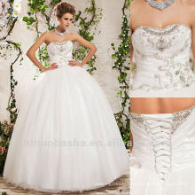Sweetheart Sequin Tulle Taffeta Corset Ball Gown Floor Length Wedding Dress 2012