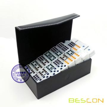 Double 9 Domino Game in Deluxe Leather Box Pack