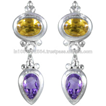 Amethyst & Citrin Edelstein mit Sterling Silber in antiken Design Ohrringe