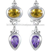 Amatista y piedras preciosas citrino con plata de ley en pendientes de diseño antiguo