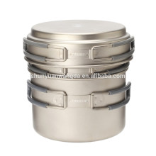 Ensemble de trois pièces en titane pour le pot et petit bol