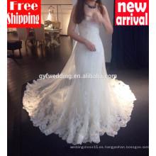 2016 Vestidos de alta calidad para vestidos de novia de la sirena de la novia del cordón del cordón de la sirena del cordón largo de la novia vestidos de boda atractivos 15002