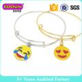 Emoji Charm Expandable Wire Bangle Bracelet
