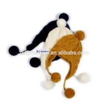 Мода женская зимняя шапка с earflap пользовательский кабель вязать пом пом шляпа