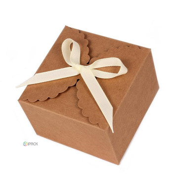 Galletas Caja de papel plegable de regalo de papel Kraft