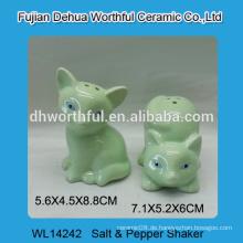 Lovely Green Fox Design Keramik Salz und Pfefferstreuer