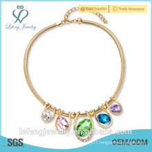 2015 Fashion crystal jewelry, gold crystal necklace for woman made by lefeng