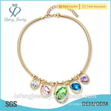 2015 Moda jóia de cristal, colar de cristal de ouro para mulher feita por lefeng