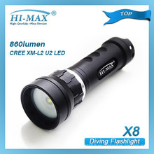 Hi-Max X8 CREE XM-L2 U2 LED ángulo de viga de 120 grados 860 lúmenes buceo cámara submarina fotografía
