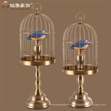 Cage à oiseaux en cuivre inoxydable élégante en gros pour la décoration de mariage