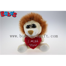 Small Size Stuffed Lion Animal with Big Eyes and Heart Pillow