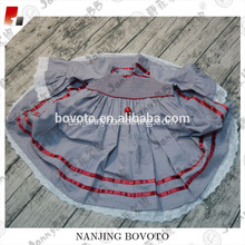Ropa al por mayor de lino ruffle girls smocked dress