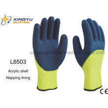 Acrylic Shell Napping Lining Latex 3/4 Coated Crinkle Finish Safety Work Glove (L6503)