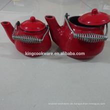 Mini-Teekanne aus Gusseisen-Email
