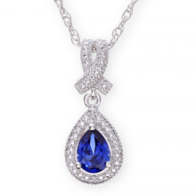 Sterling Silver Necklace with Sapphire Drop Stone with Rhodium Plated