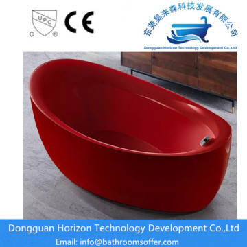 Wide red acrylic tub printing bathtub
