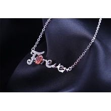 "DIY Letter""Forever "" 18 inch link chain rhodium plated charm necklace"