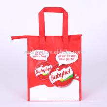 Grande sacola não tecida laminada por atacado reusável do refrigerador do saco do almoço com punho