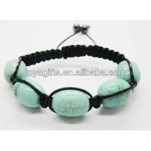04B0027/Turquoise 10*14MM Oval beads 5pcs woven bracelet