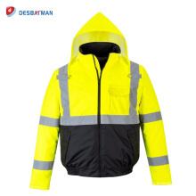 Salut Vis sécurité pluie imperméable veste réfléchissante chaude capuche rembourré avec des poches à glissière pleine