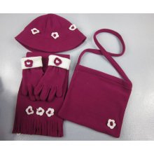 polar fleece hat, scarf, gloves and bag set