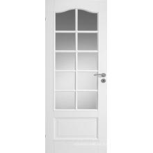 Contemporáneo, elegante, estilo francés, blanco, interior, puerta de madera