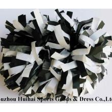 Plastic POM Poms: Black Mix White