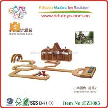 326pcs el color natural Rubberwood embroma la casa de madera de los bloques del juguete