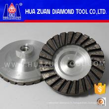 """Roue de meule à diamant en béton, segmentée Turbo 4 """"X5 / 8"""" -11 grain moyen"""