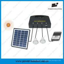 Solar System mit 2 Glühbirnen & Handy-Ladegerät & 4W Solarpanel & 2W Solarbirne für den Innenbereich