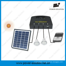 Solar System with 2 Bulbs&Mobile Phone Charger&4W Solar Panel&2W Solar Bulb for Indoor
