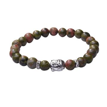Natural Unakite 8MM Gemstone Buddhism Prayer Beads Bracelets