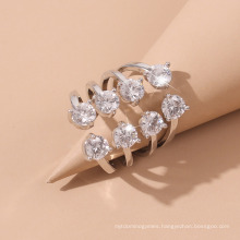 Fashion Hot Selling Simple Design Silver Jewelry Leaf Shape Creative Big Diamond Zircon Rings Gifts for Women