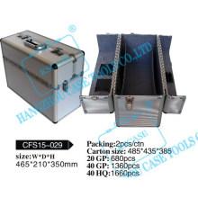 Стильный, косметические кейс алюминиевый с развертывающимся крышкой