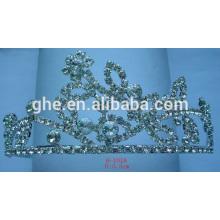 Tiara cristalina de la tiara de la tiara del cumpleaños de la tiara cristalina diaria del acero inoxidable tiara completa de la reina de la tiara de la tiara para la boda