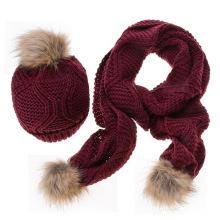 2017 Inverno quente padrões estampados overcrochet gorro de lã de malha chapéu e cachecol conjunto com poms de pele para as mulheres meninas