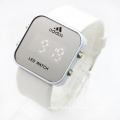 LED light silicone mirror watches