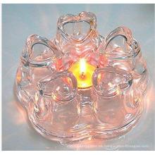Nuevo calentador de cristal de la tetera de la forma del corazón del diseño para el comerciante