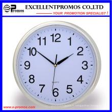 Silver Frame Logo Impression ronde en plastique Wall Clock (Item21)