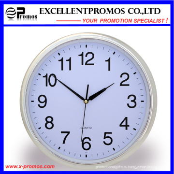 Серебряная рамка печать логотипа Круглые пластиковые настенные часы (Item21)