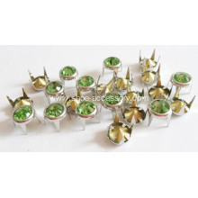 8mm Metal Brads Leather Peridot Glass Stone Centered