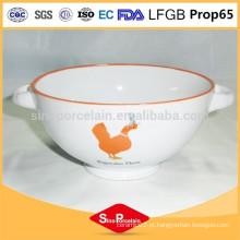 Notícias tigela de cerâmica em design de frango com duas alças para BS120808A