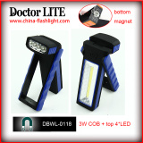 2015 New Design Portable Working Light with Magnet, COB and 4*LED Plastic LED Working Light