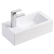Luxury Modern style Rectangular White Ceramic Wall hung Wash Basin Bathroom Art Basin Sinks