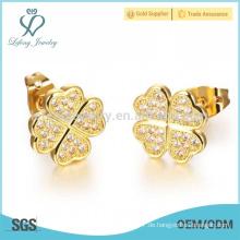 Dubai 18k Gold Kristall Ohrstecker, Kupfer Überzug Blume Ohrringe Schmuck