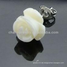 Süßwasser 8MM Weiß Rose Shell Ohrring Edelstahl Ohrstecker EF-029