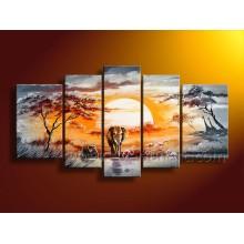 Ручная роспись африканского искусства Слон масляной живописи